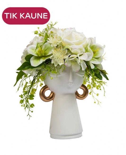 """Dirbtinių gėlių kompozicija su balta vaza """"moters galva"""""""