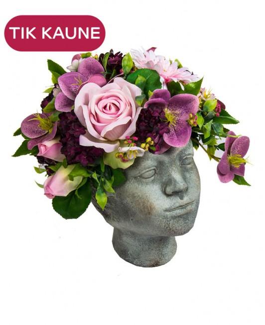 """Dirbtinių gėlių kompozicija su vaza """"vaiko veidas"""""""
