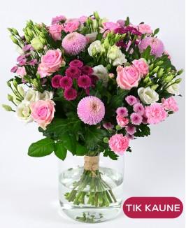 Rožinė chrizantemų puokštė