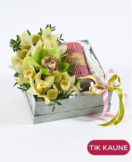 Šviesi gėlių dėžutė su dovanėle