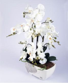 Dirbtinė balta orchidėja 2