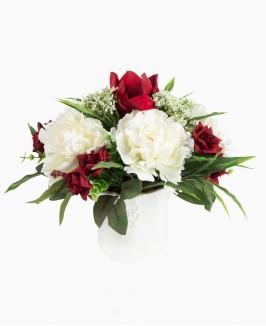 Dirbtinių gėlių kompozicija (White&Red)