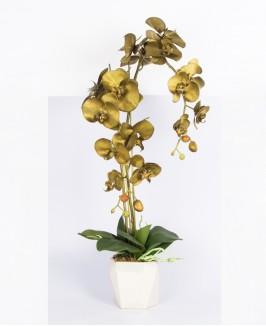 Dirbtinė aukso spalvos orchidėja vazone
