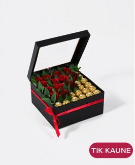 Muilo rožės ir Ferrero Rocher saldainiai dėžutėje