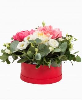 Gėlių dėžutė su bijūnais