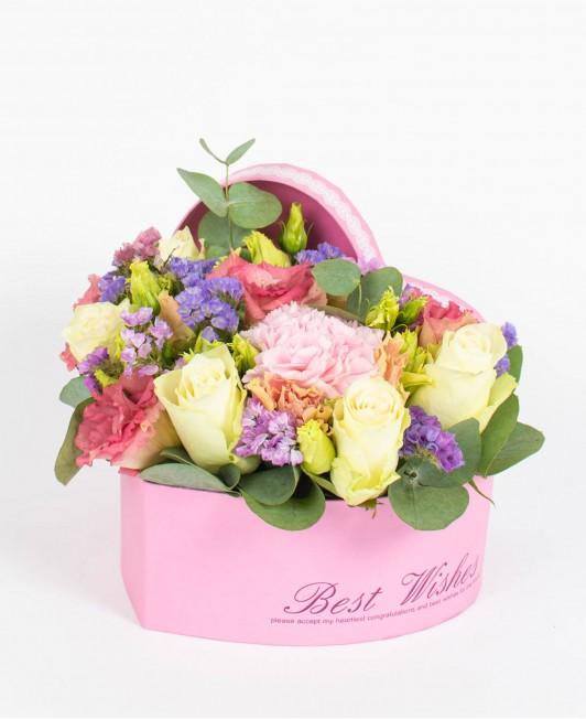 Širdelės formos gėlių dėžutė
