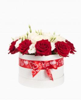 Rožės ir eustomos dėžutėje