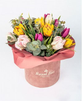 Gėlių dėžutė su įvairių spalvų tulpėmis