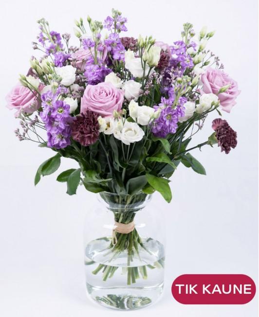 Matiolų ir eustomų puokštė su rožėmis