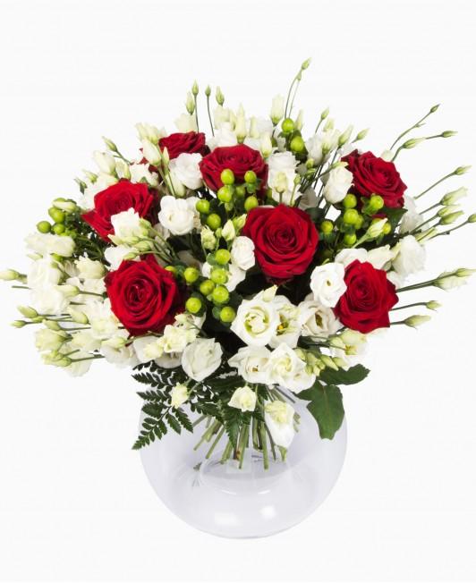 Rožių ir eustomų puokštė