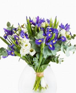 Irisų ir eustomų puokštė