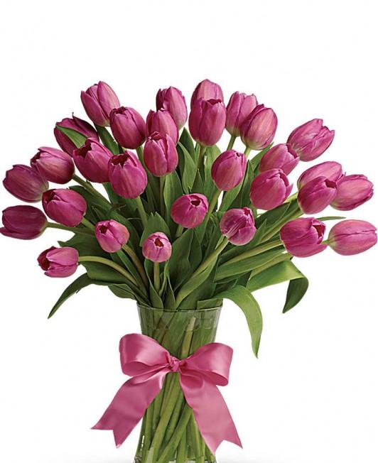 Rožinės spalvos tulpės