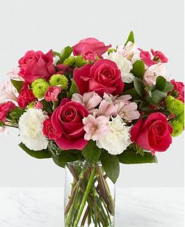 Raudonų rožių ir alstromerijų puokštė